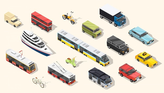 Public transport vehicles collection Free Vector