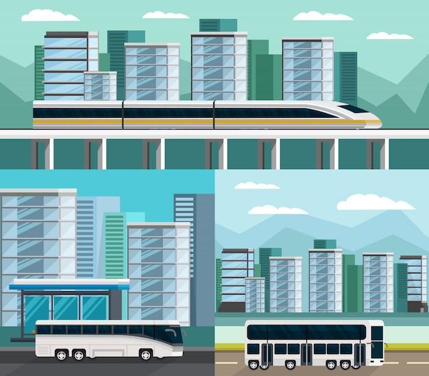 Set di composizioni ortogonali di trasporto pubblico Vettore gratuito