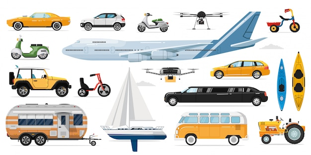 Public transportation  . passenger public, private transport. isolated automobile, bus, airplane, caravan, drone, yacht, bicycle, scooter, limousine car transportation vehicle icon collection Premium Vector