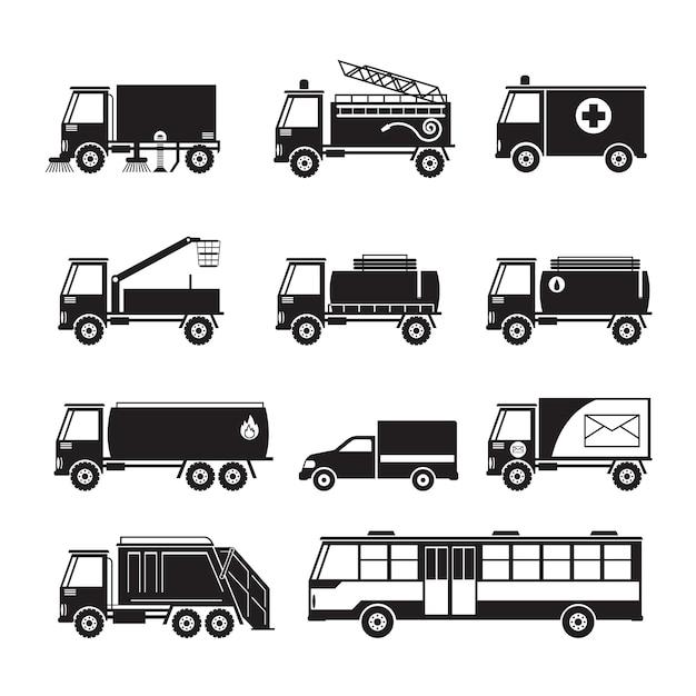 Public utility truck and bus vehicles object silhouette set Premium Vector