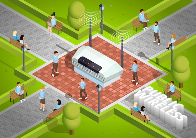 Public wireless technology outdoor isometric poster Free Vector