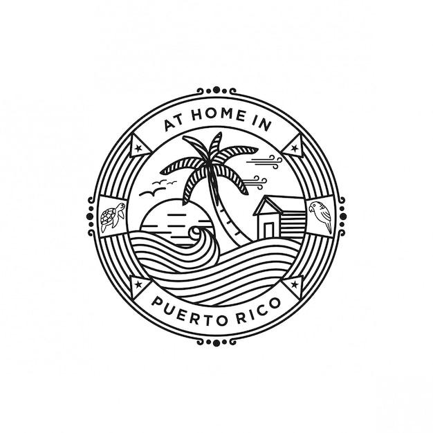 Puerto rico beach logo Premium Vector
