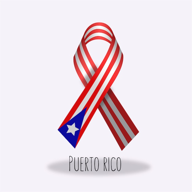 Puerto Rico Flag Ribbon Design Free Vector