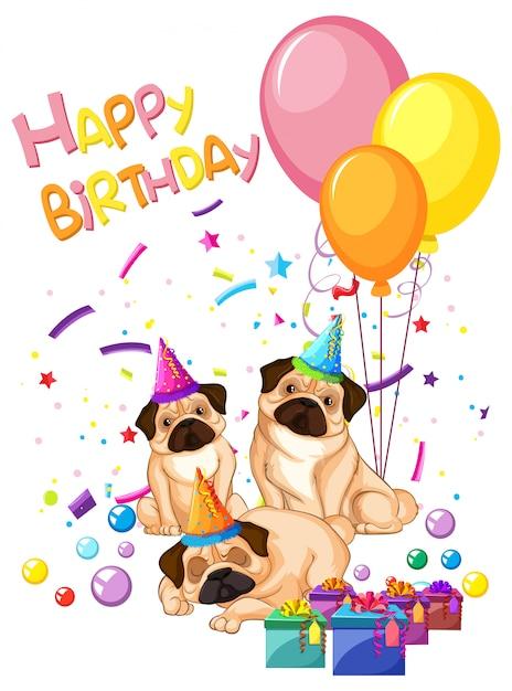 Pug on birthday template Free Vector