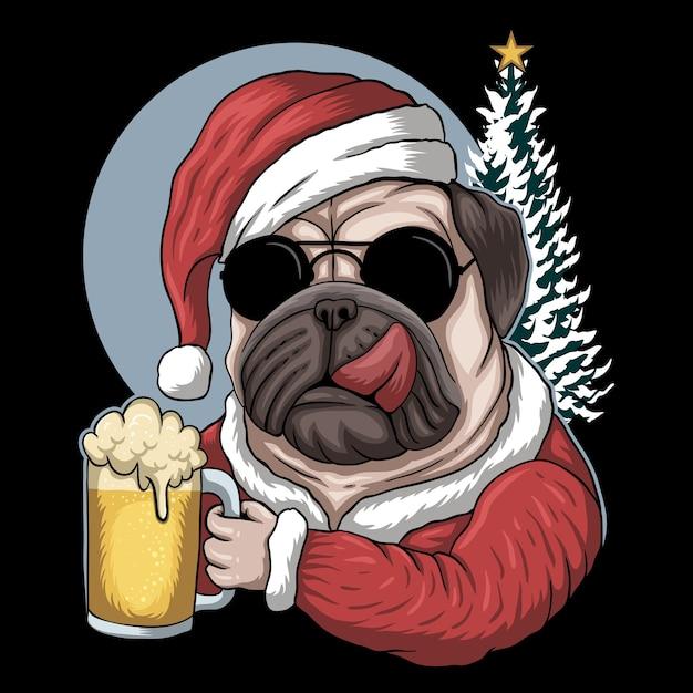 Пиво мопса в костюме санта-клауса на рождество Premium векторы