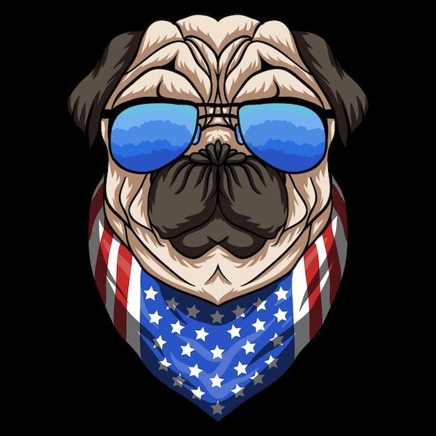 Pug dog eyeglasses illustration Premium Vector