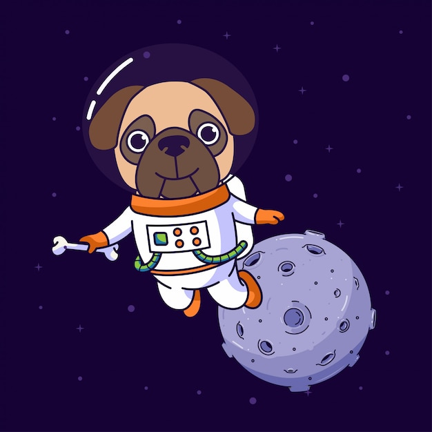 Pug dog flying in the space Premium Vector
