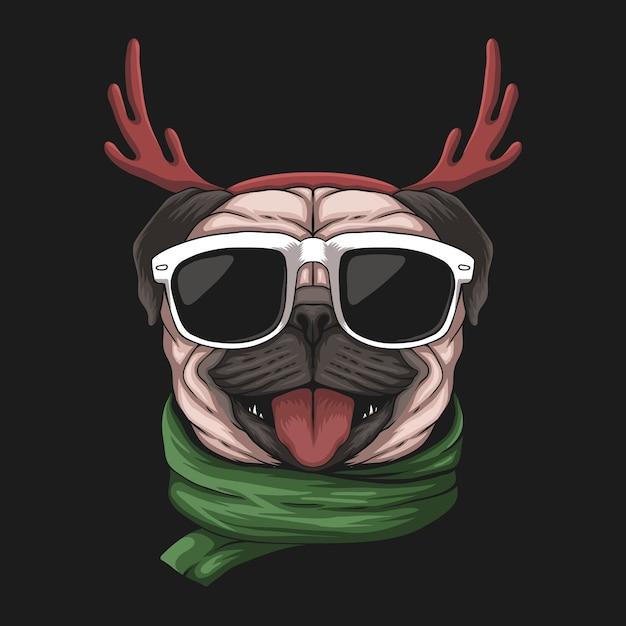 Собака мопса на рождество Premium векторы