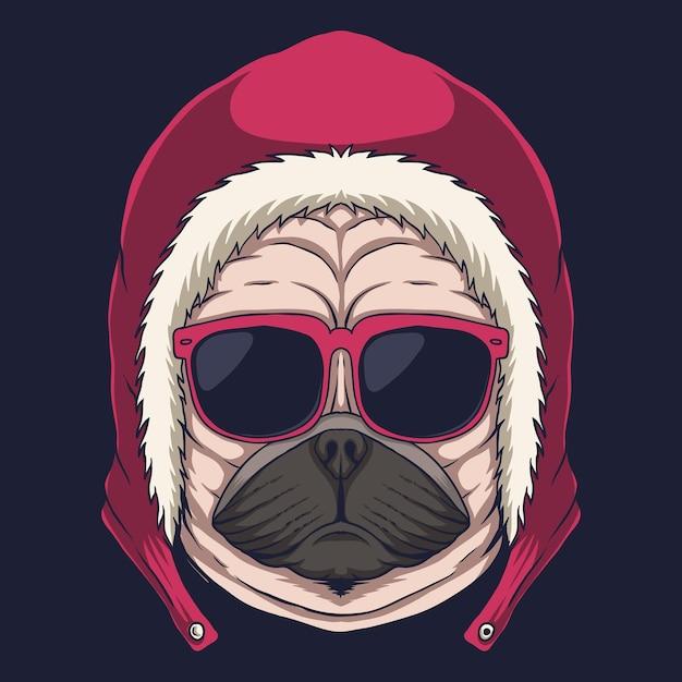 パグ犬の頭の眼鏡のイラスト Premiumベクター