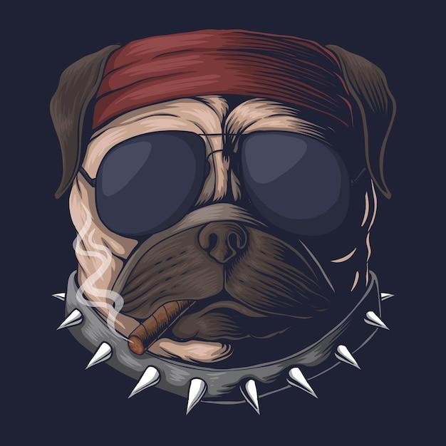 パグ犬の頭の煙のイラスト Premiumベクター