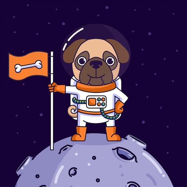 Pug dog landing on the moon Premium Vector