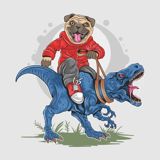 Pug dog puppy cute riding t rex dinosaur wild artwork vector Premiumベクター