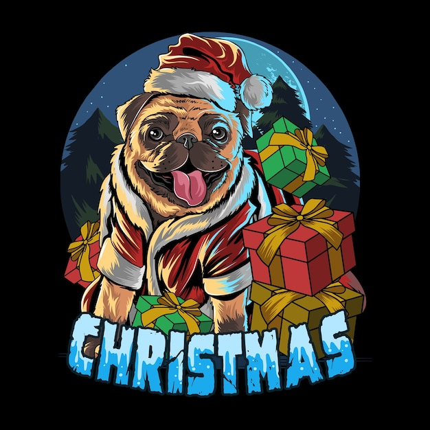 Мопс собака в шапке санта клауса в подарок Premium векторы