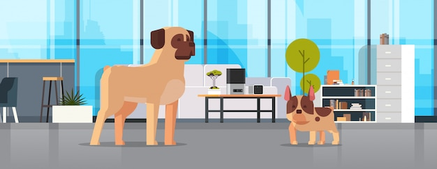 Pug and french bulldog standing together human friend home pet concept modern living room interior cartoon animals horizontal full length Premium Vector