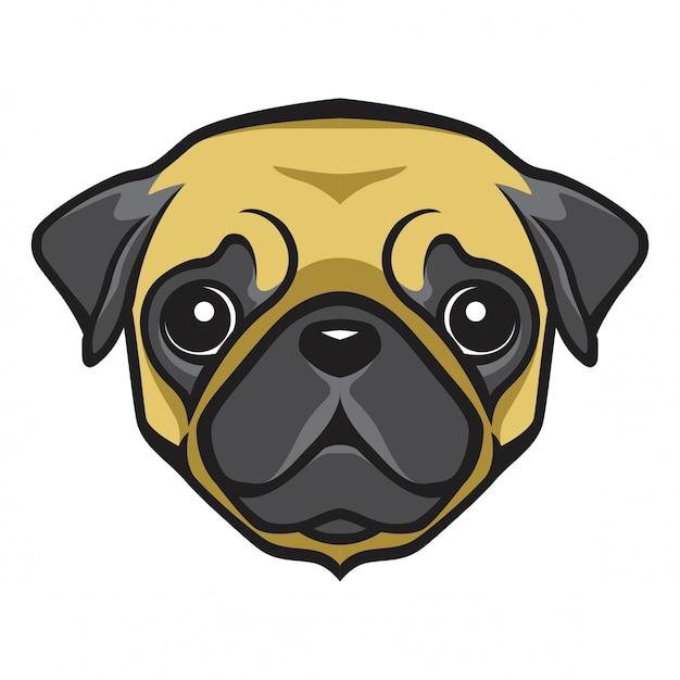 Pug head dog Premium Vector