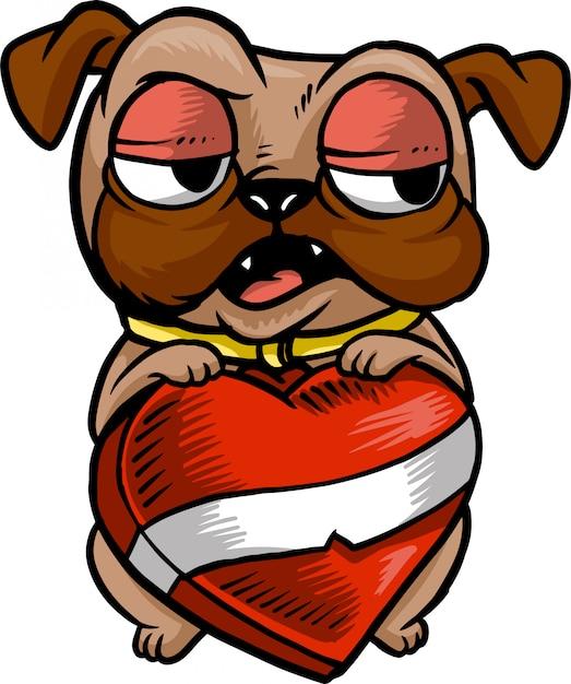 Pug love Premium Vector