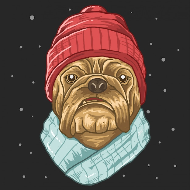 Pug with slayer cold winter Premium Vector