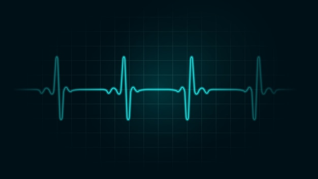 Pulse rate line on green chart background of monitor. illustration about heart rate and cardiogram monitor. Premium Vector