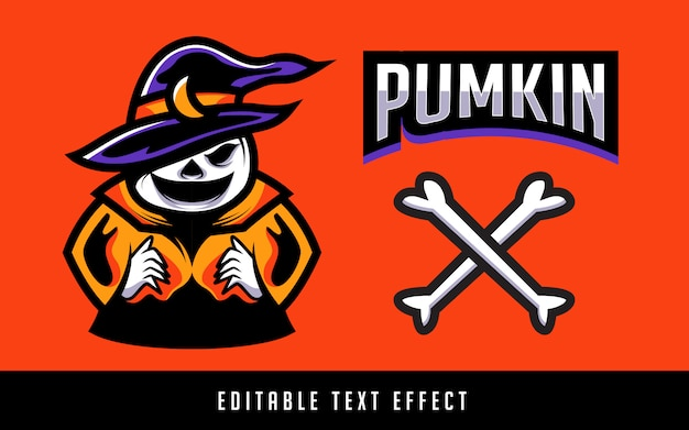 Pumkin sport logo with editable text Premium Vector