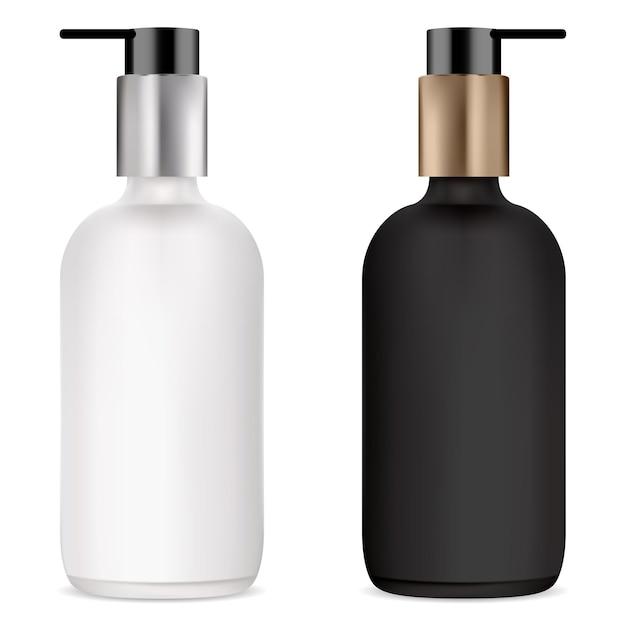 화장품 세럼, 흑백 모형을위한 펌프 병 크림, 젤 또는 액체 비누 용 플라스틱 디스펜서가있는 투명 유리 병. 파운데이션베이스 화장품 용기 프리미엄 벡터