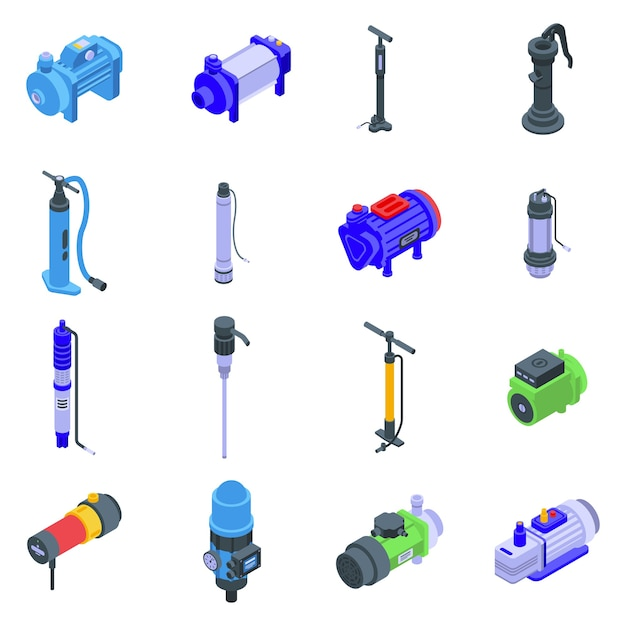 Pump icons set. isometric set of pump  icons for web  isolated on white background