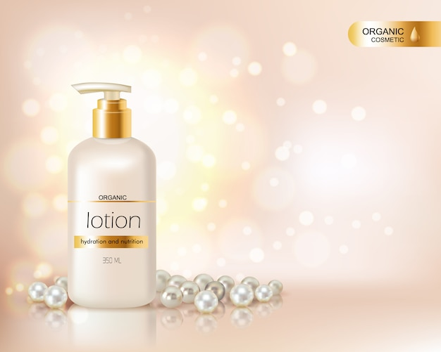 Pump top bottle with organic cosmetic lotion and gold cap decorated with scattering of pearls and gl Free Vector