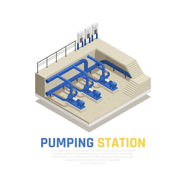 Pumping station concept with water cleaning symbols isometric Free Vector