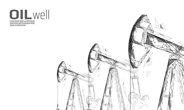 油井リグジャック低ポリビジネスコンセプト。金融経済多角形ガソリン生産。石油燃料業界pumpjackデリックポンプ掘削ポイントライン接続ドットベクトルイラスト Premiumベクター