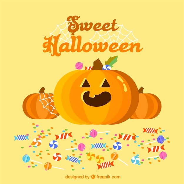 Pumpkin and candy background