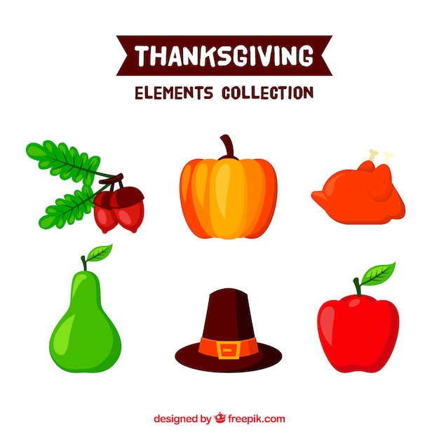 Pumpkin and other thanksgiving elements Free Vector