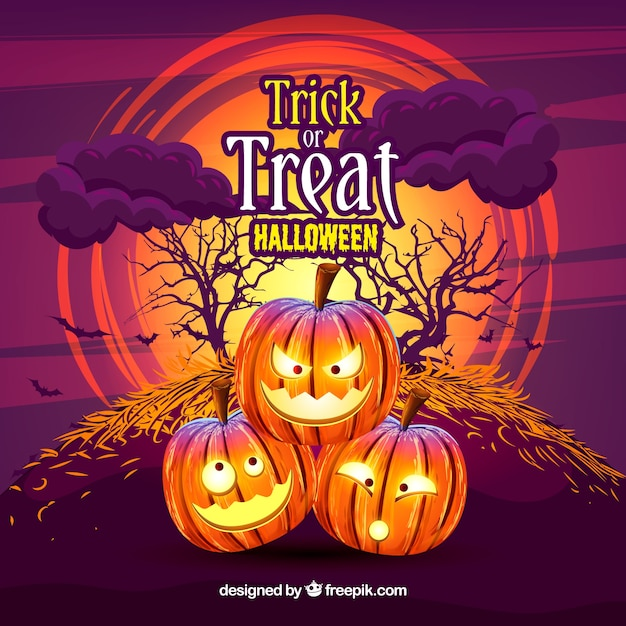 Pumpkin background with trick or treat message Free Vector