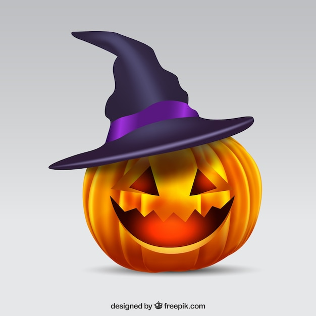 Pumpkin background with witch hat Free Vector