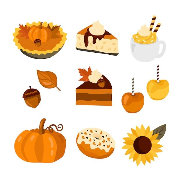 Pumpkin cake, apples and coffee set Premium Vector