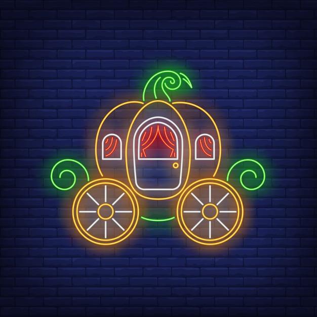 Pumpkin carriage neon sign Free Vector