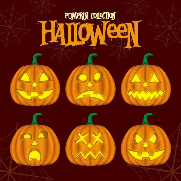 Pumpkin collection hallowen Premium Vector