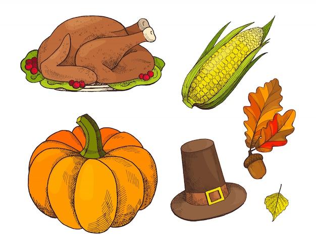 Pumpkin and cooked meet of turkey icons vector Premium Vector
