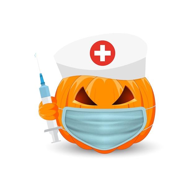 カボチャの医者。白い背景の上の医療マスクと注射器とカボチャ。休日のハッピーハロウィンのメインシンボル。 Premiumベクター