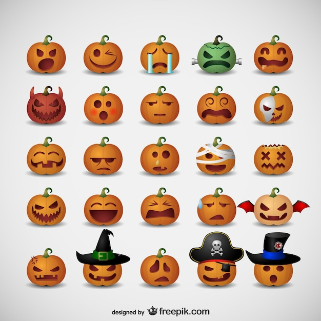 Pumpkin emoticons for Halloween Free Vector