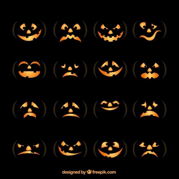 Pumpkin face collection Premium Vector