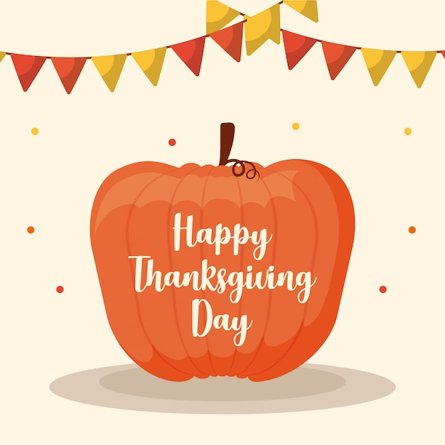 Pumpkin food for thanksgiving day with garlands Premium Vector