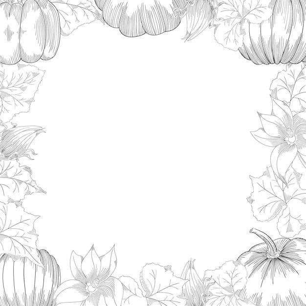 Pumpkin frame vector drawing set Premium Vector