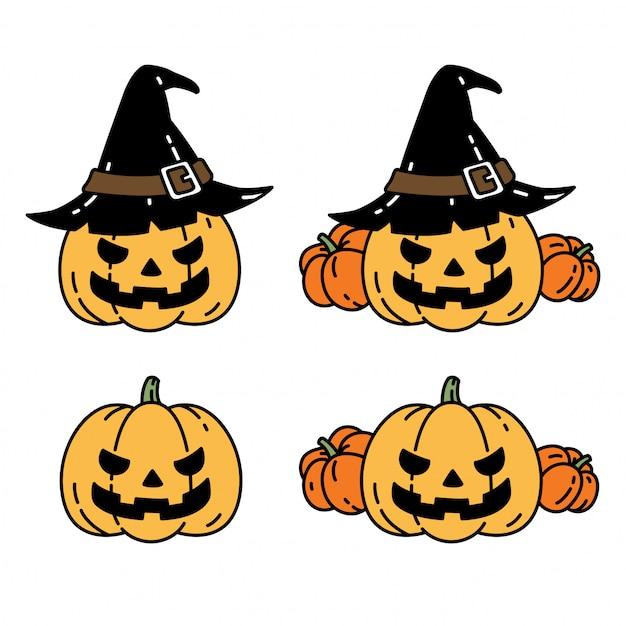 Pumpkin halloween icon character cartoon Premium Vector