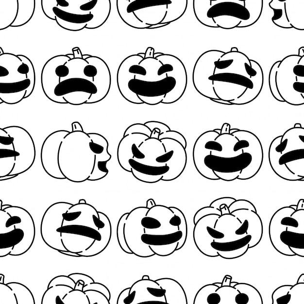 Pumpkin halloween seamless pattern cartoon Premium Vector