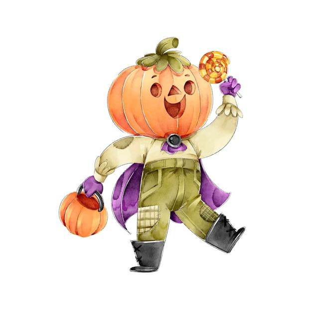 Pumpkin head holding candies happy halloween Free Vector