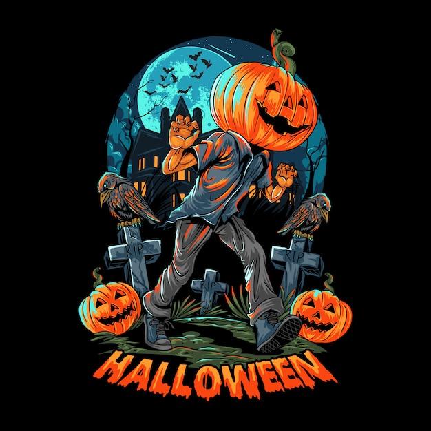 A pumpkin-headed human walks on a lonely and dark street near a haunted empty house. editable layers vector Premium Vector