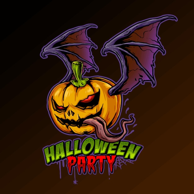 Pumpkin horror illustration Premium Vector