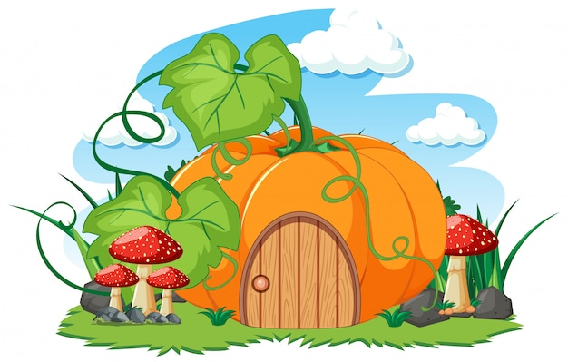 Pumpkin house and some mushroom cartoon style on white background Free Vector