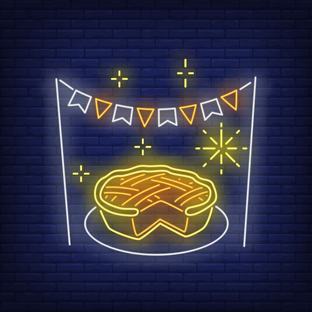 Pumpkin pie in neon style Free Vector