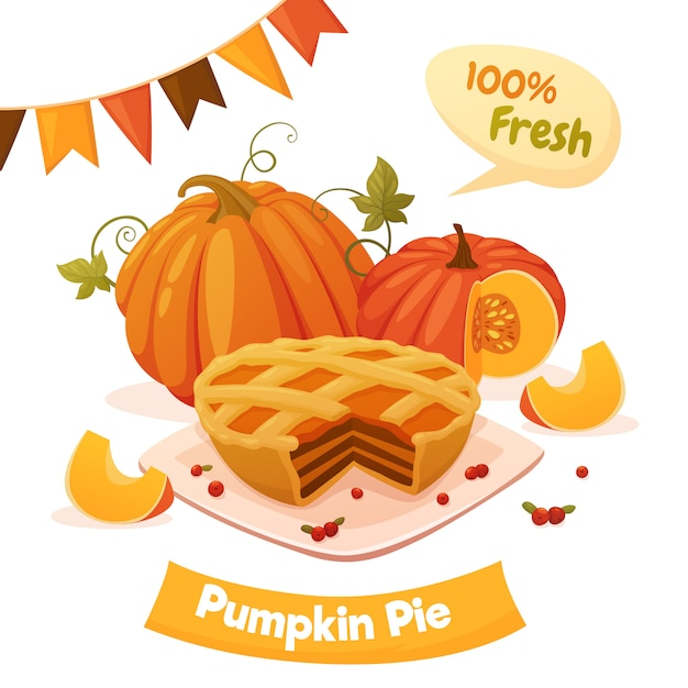 Pumpkin pie with orange pumpkins, berries and garland. cartoon style, vector illustration. Premium Vector