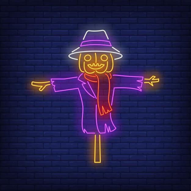 Pumpkin scarecrow neon sign Free Vector